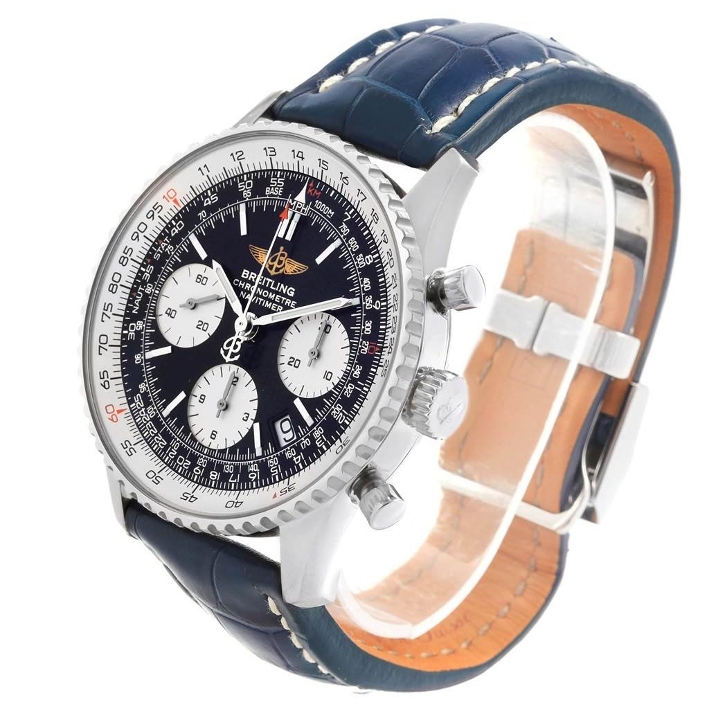 19544 Breitling Navitimer Chronograph Black Dial Black Strap Watch A23322 SwissWatchExpo