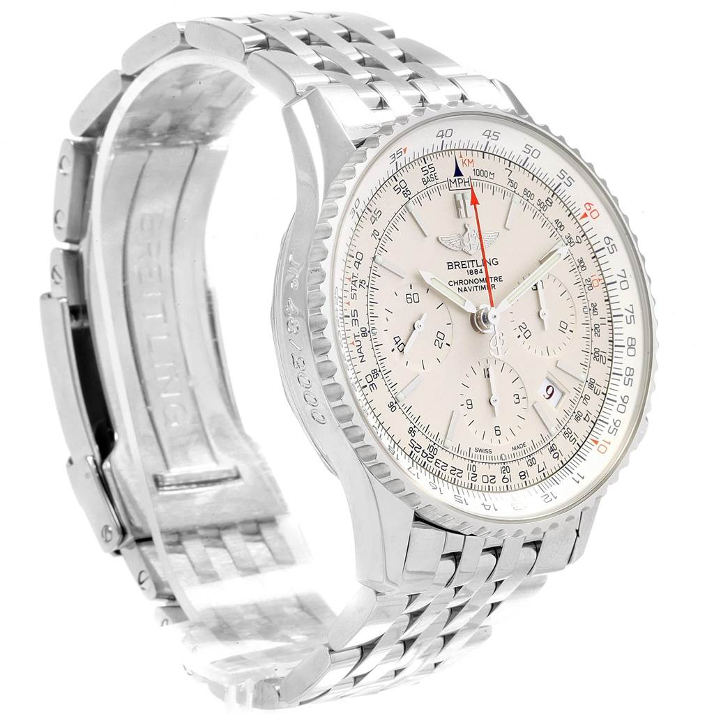 19897 Breitling Navitimer 01 Silver Dial Limited Edition Mens Watch AB0123 SwissWatchExpo