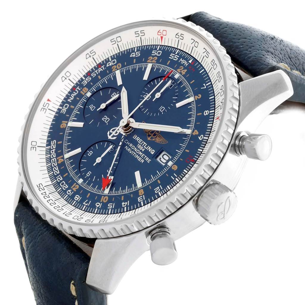 Breitling Navitimer World GMT Steel Blue Dial Watch A24322 Box Papers SwissWatchExpo