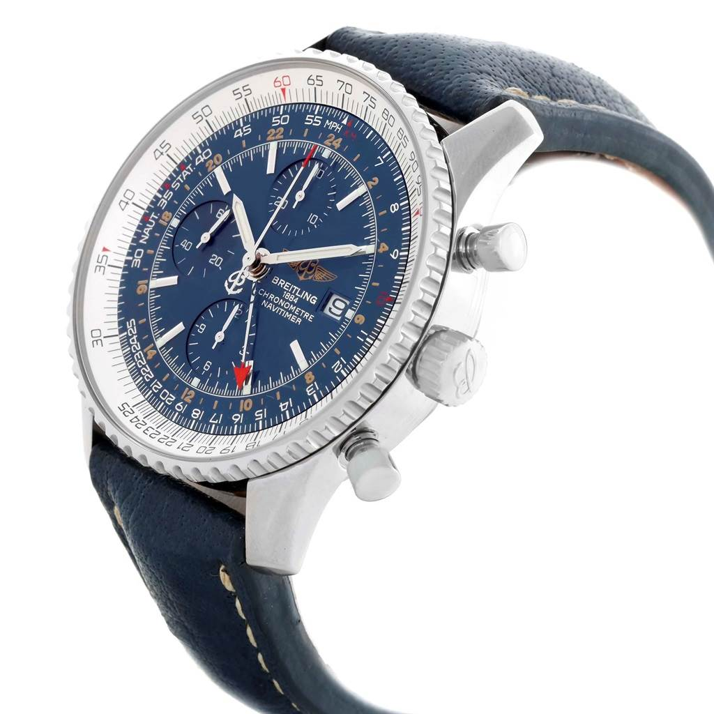16309 Breitling Navitimer World GMT Steel Blue Dial Watch A24322 Box Papers SwissWatchExpo