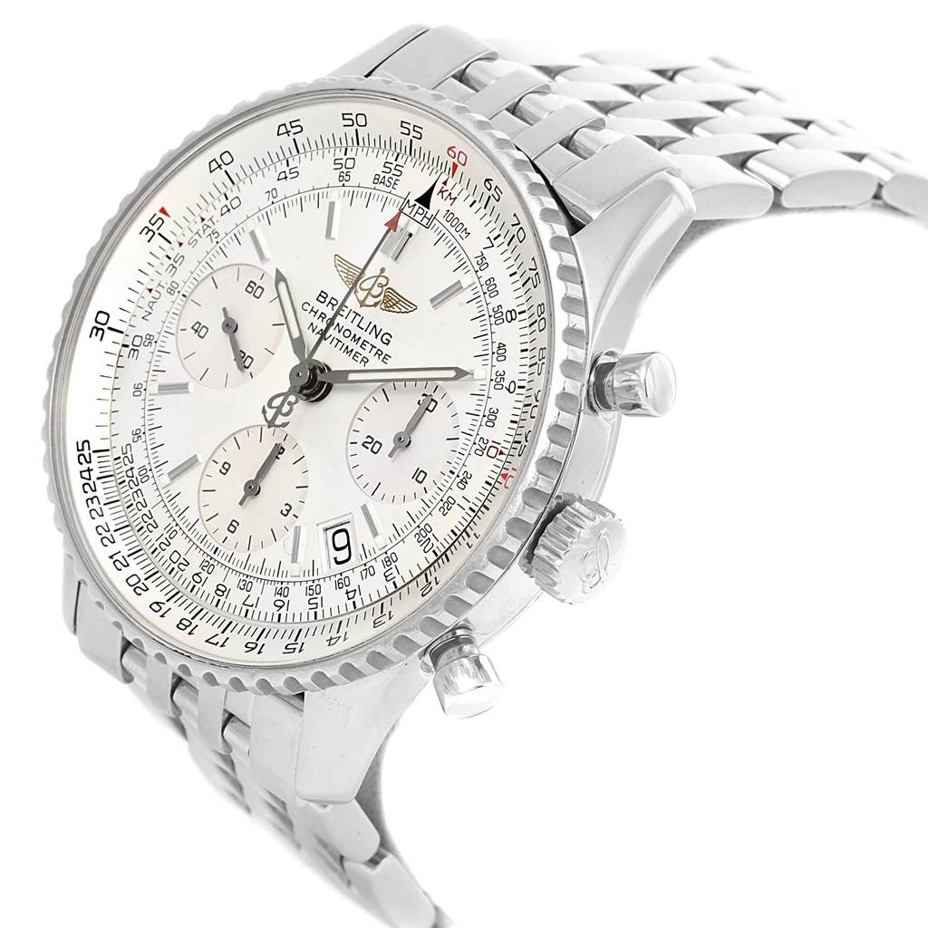 Breitling Navitimer Chronograph Silver Baton Dial Steel Watch A23322 SwissWatchExpo