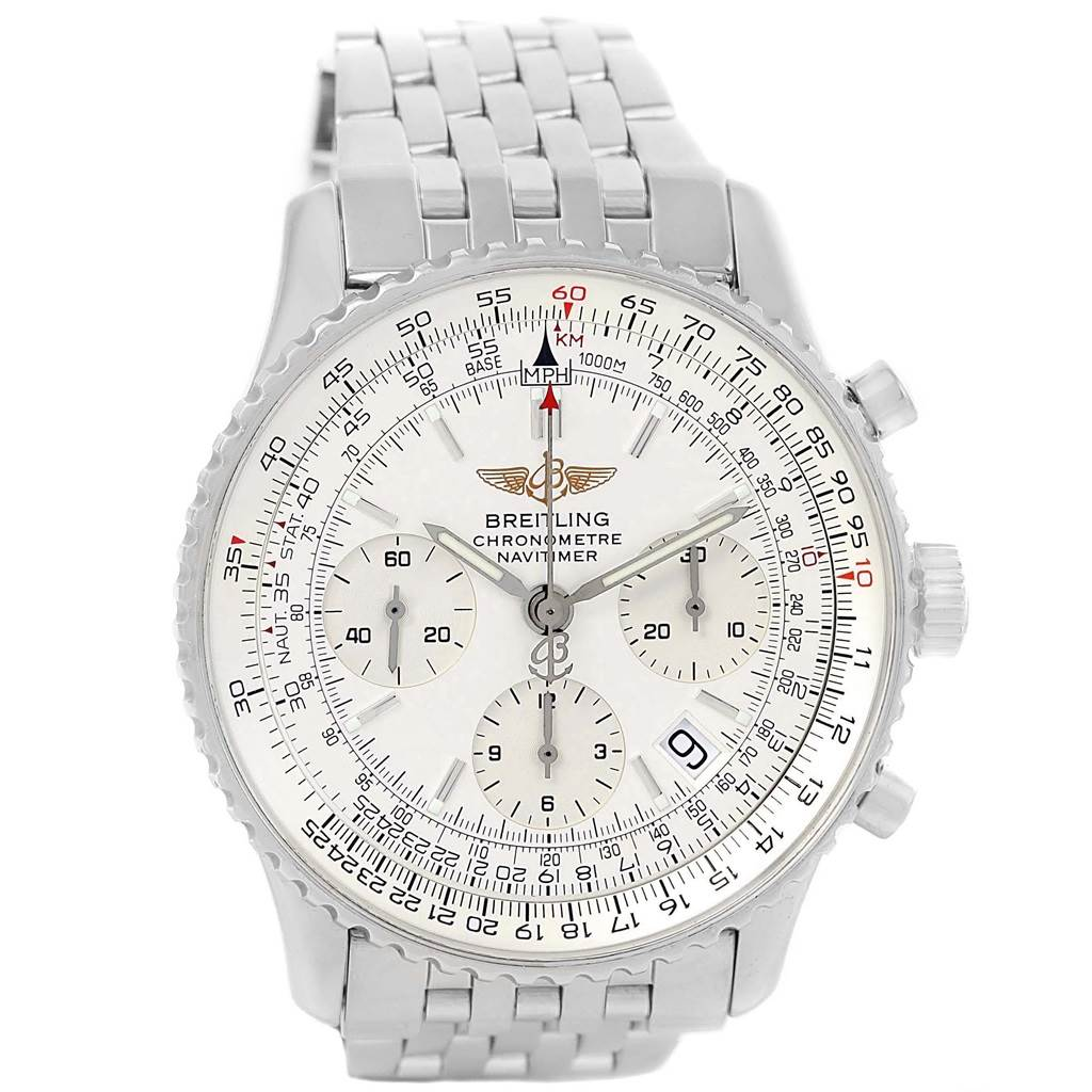 20496 Breitling Navitimer Chronograph Silver Baton Dial Steel Watch A23322 SwissWatchExpo