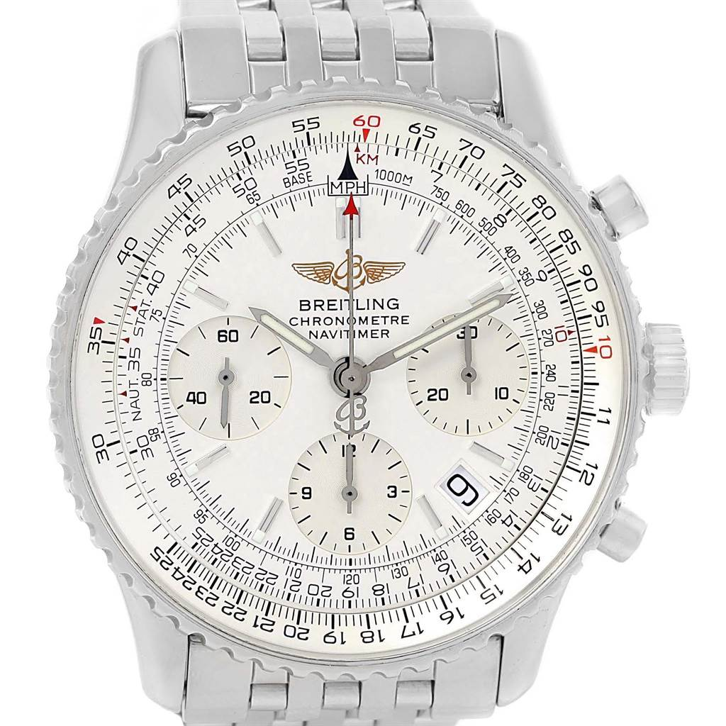 fb9b4e2d69a0 ... 20496 Breitling Navitimer Chronograph Silver Baton Dial Steel Watch  A23322 SwissWatchExpo ...