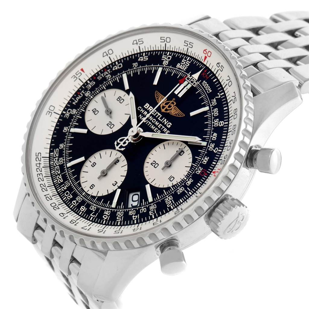 Breitling Navitimer Chronograph Black Dial Steel Watch A23322 Box Papers SwissWatchExpo