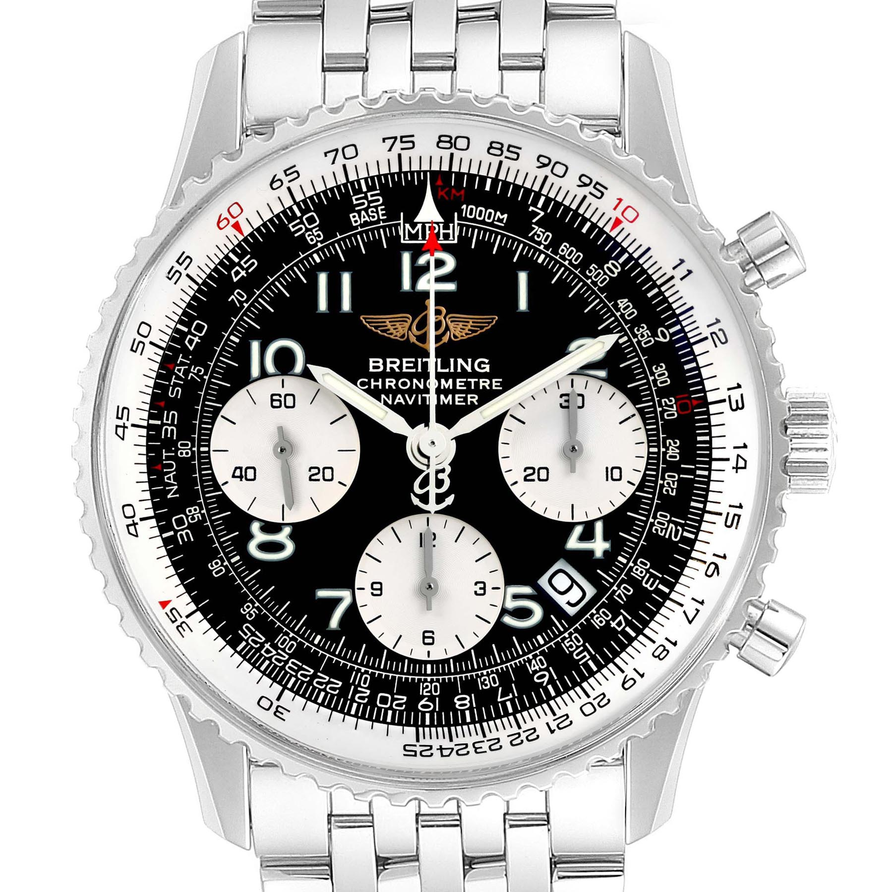 Breitling Navitimer Black Arabic Dial Steel Mens Watch A23322 SwissWatchExpo