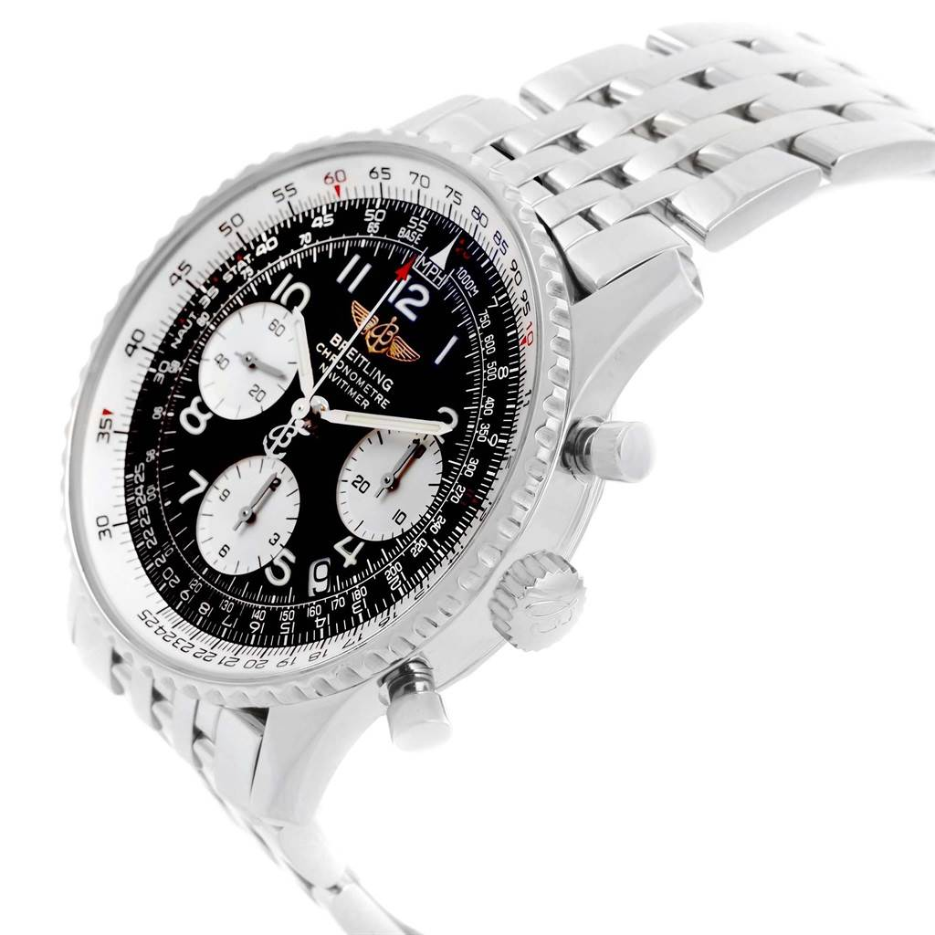 20495 Breitling Navitimer Black Arabic Dial Steel Mens Watch A23322 SwissWatchExpo