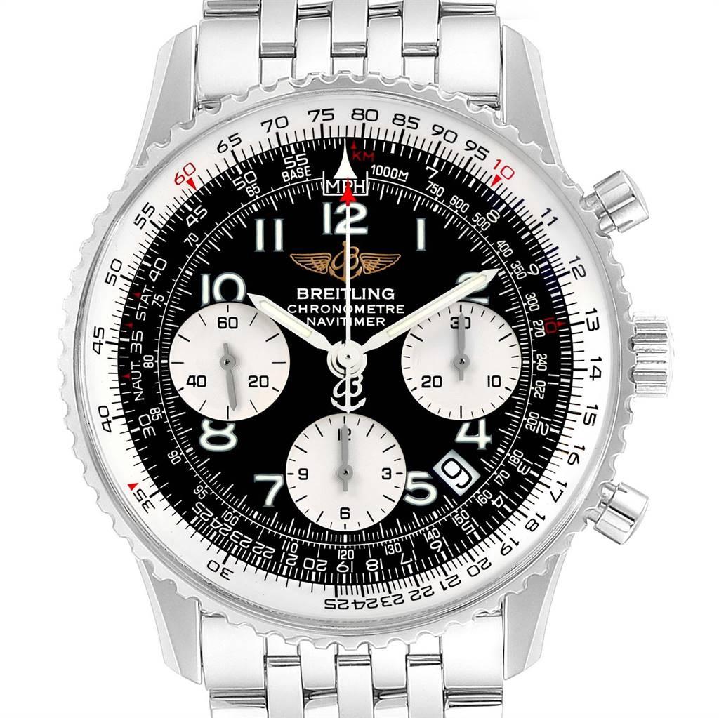 Breitling Navitimer Black Arabic Dial Steel Mens Watch A23322 SwissWatchExpo