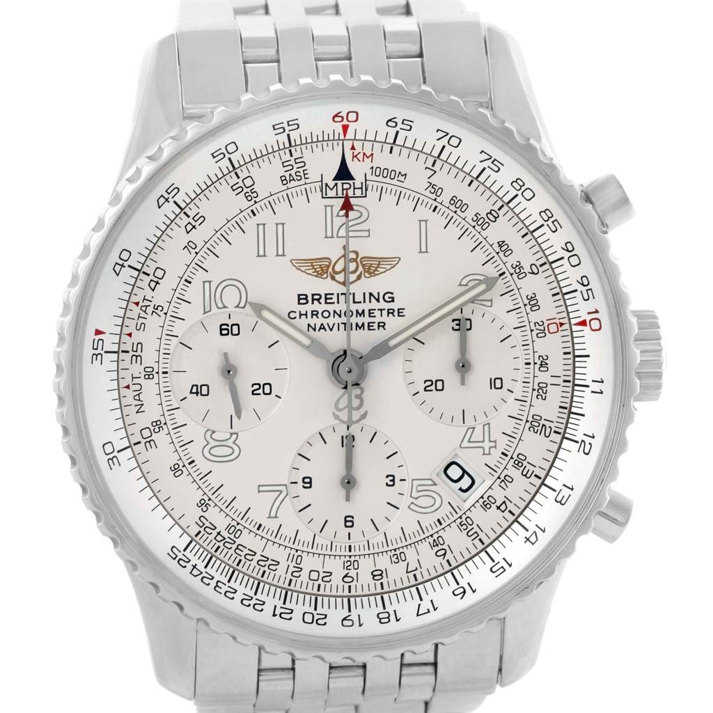 20497 Breitling Navitimer Silver Arabic Dial Mens Watch A23322 Box Papers SwissWatchExpo