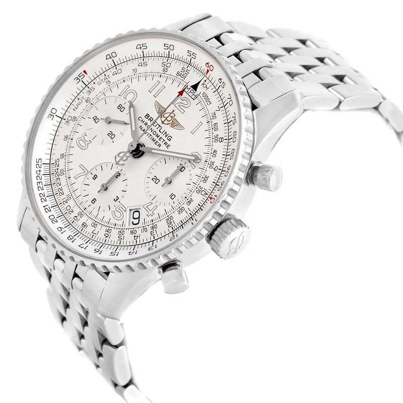 Breitling Navitimer Silver Arabic Dial Mens Watch A23322 Box Papers SwissWatchExpo