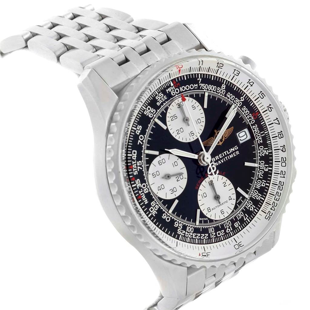 20542 Breitling Navitimer Fighter Chronograph Steel Watch A13330 Box Papers SwissWatchExpo