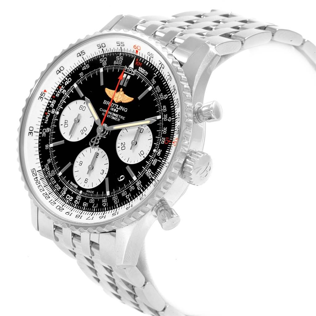 20729 Breitling Navitimer 01 Black Dial Steel Mens Watch AB0120 Box Papers SwissWatchExpo
