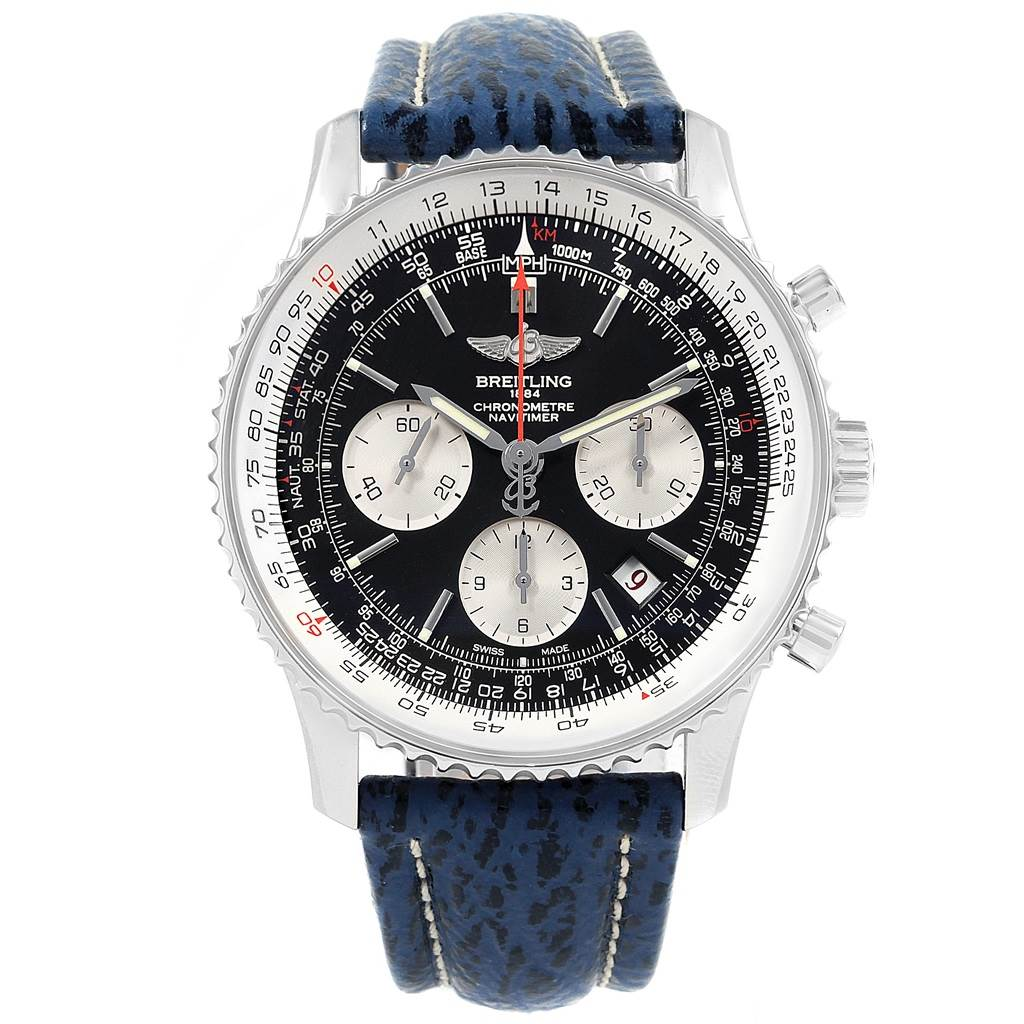 Breitling Navitimer 01 Black Dial Blue Strap Limited Edition Watch AB0121 SwissWatchExpo