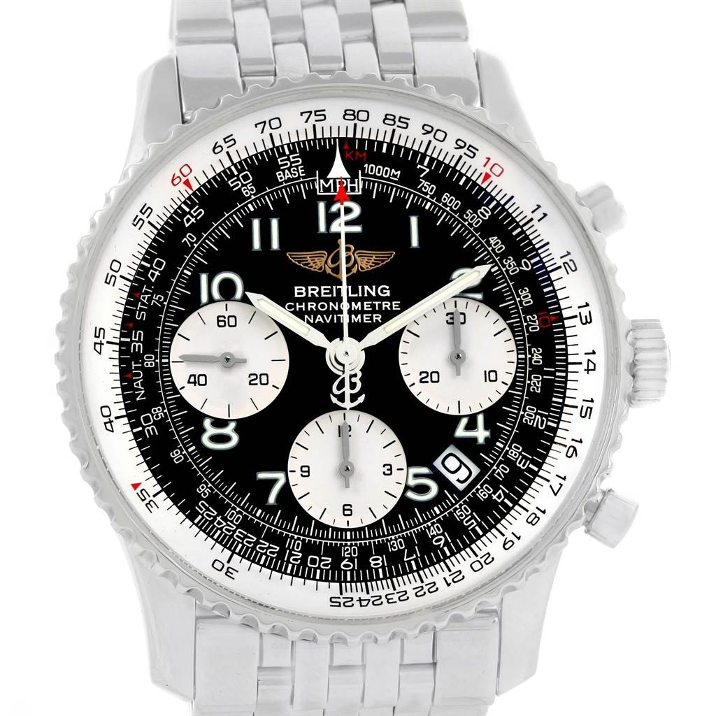 20868 Breitling Navitimer Black Arabic Dial Steel Mens Watch A23322 Box Papers SwissWatchExpo