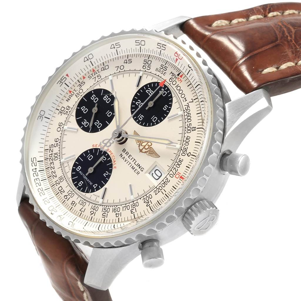 207 Breitling Navitimer Fighter Chronograph Panda Dial Steel Watch A13330 SwissWatchExpo