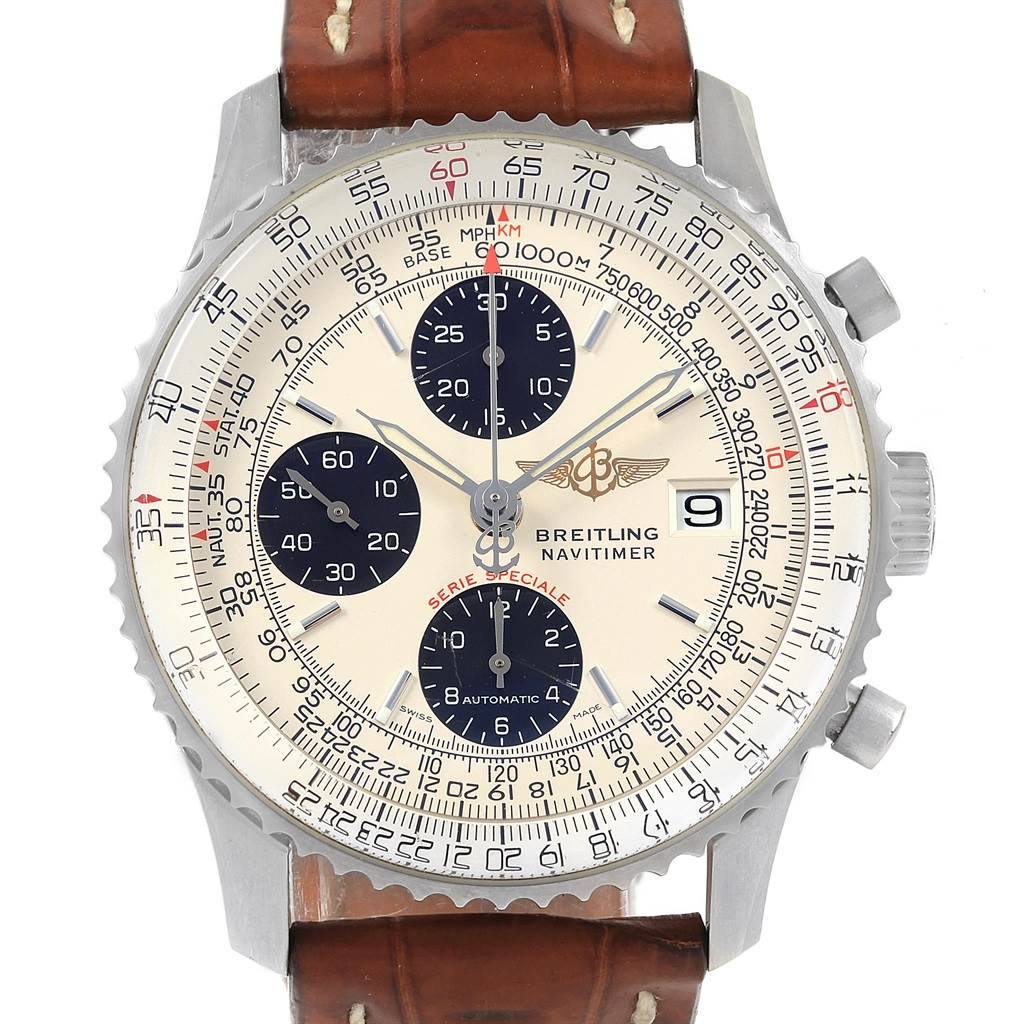 Breitling Navitimer Fighter Chronograph Panda Dial Steel Watch A13330 SwissWatchExpo