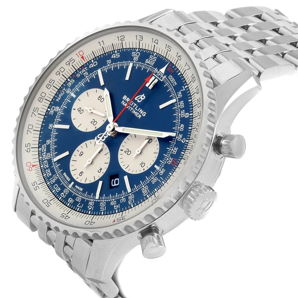 20954 Breitling Navitimer 01 46mm Aurora Blue Dial Watch AB0127 Box papers SwissWatchExpo