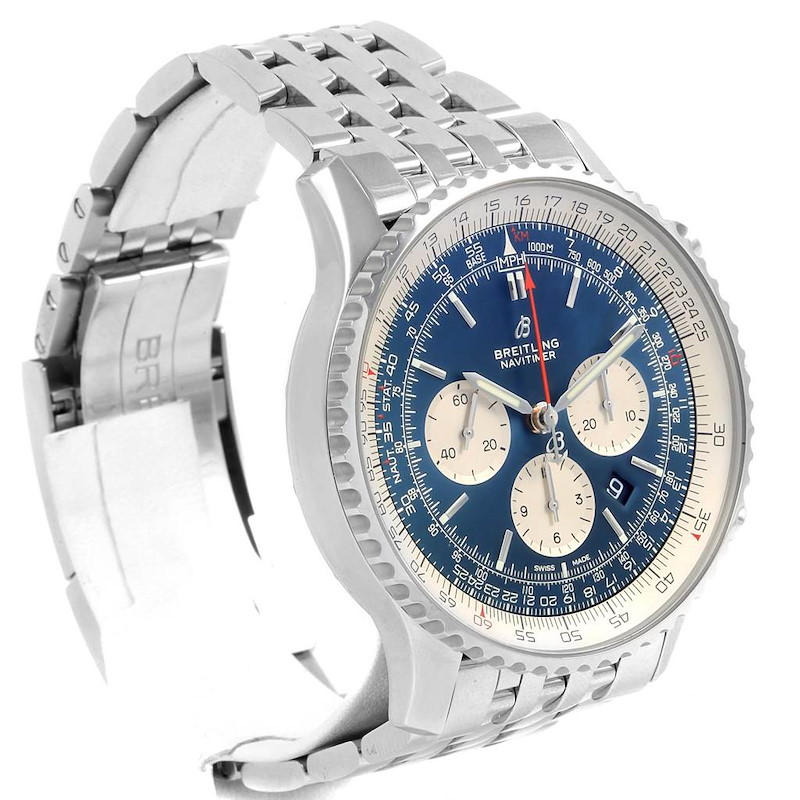 Breitling Navitimer 01 46mm Aurora Blue Dial Watch AB0127 Box papers SwissWatchExpo