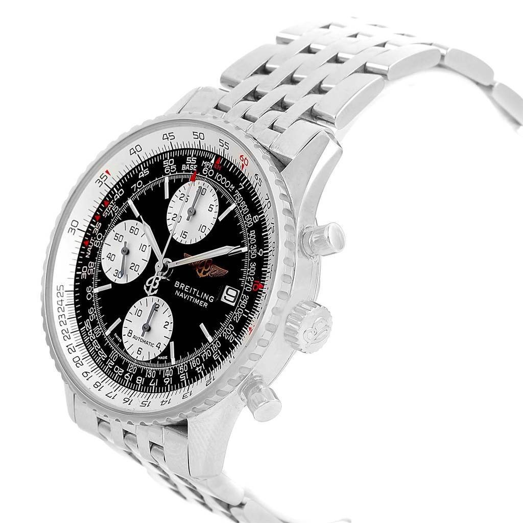 20918 Breitling Navitimer II Black Dial Steel Mens Watch A13322 Box Papers SwissWatchExpo