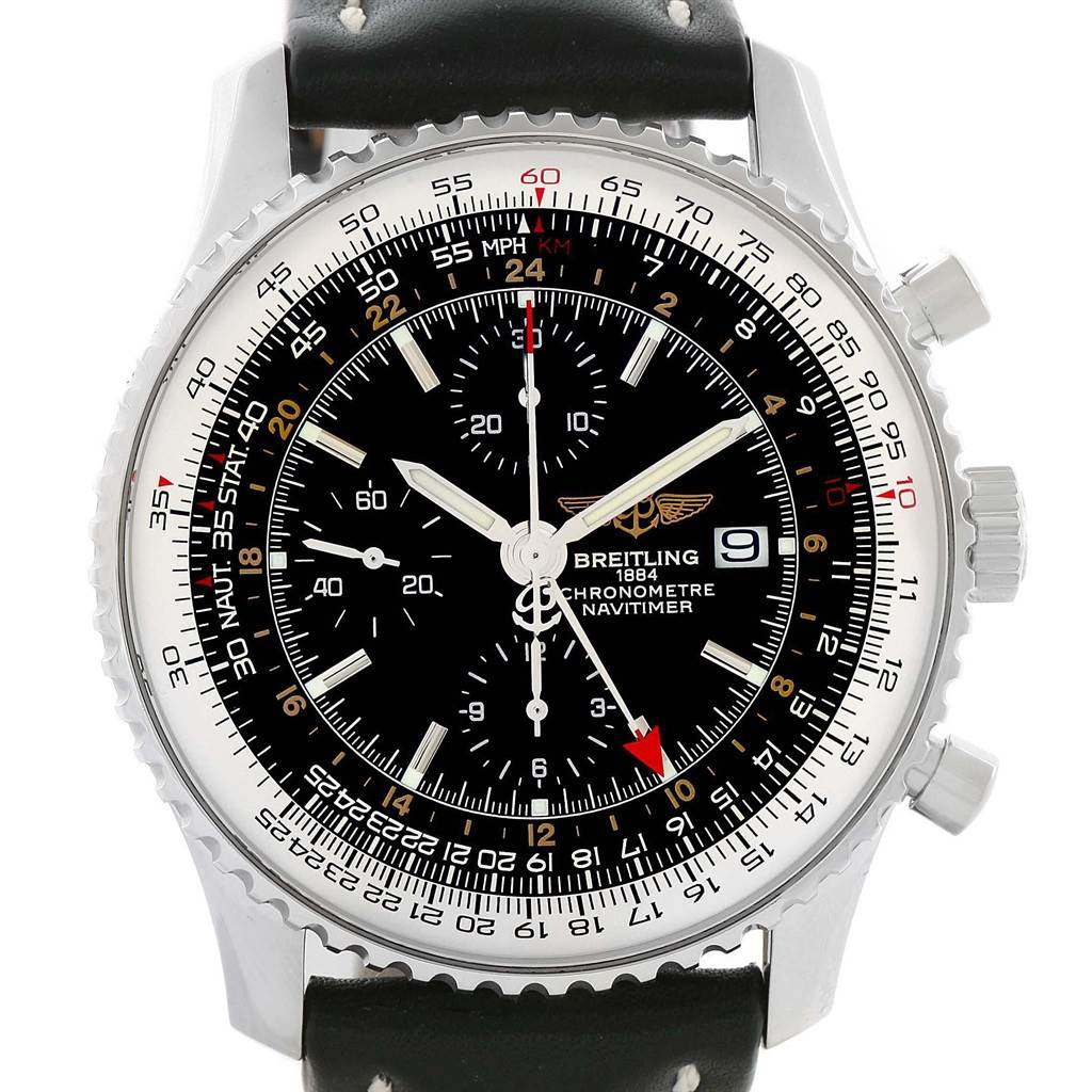 21165 Breitling Navitimer World GMT Steel Black Dial Watch A24322 Papers SwissWatchExpo