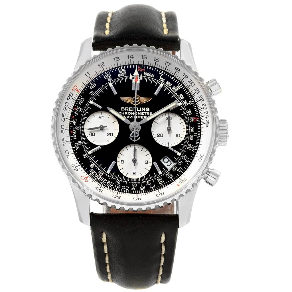 21166 Breitling Navitimer Black Dial Chronograph Steel Mens Watch A23322 SwissWatchExpo