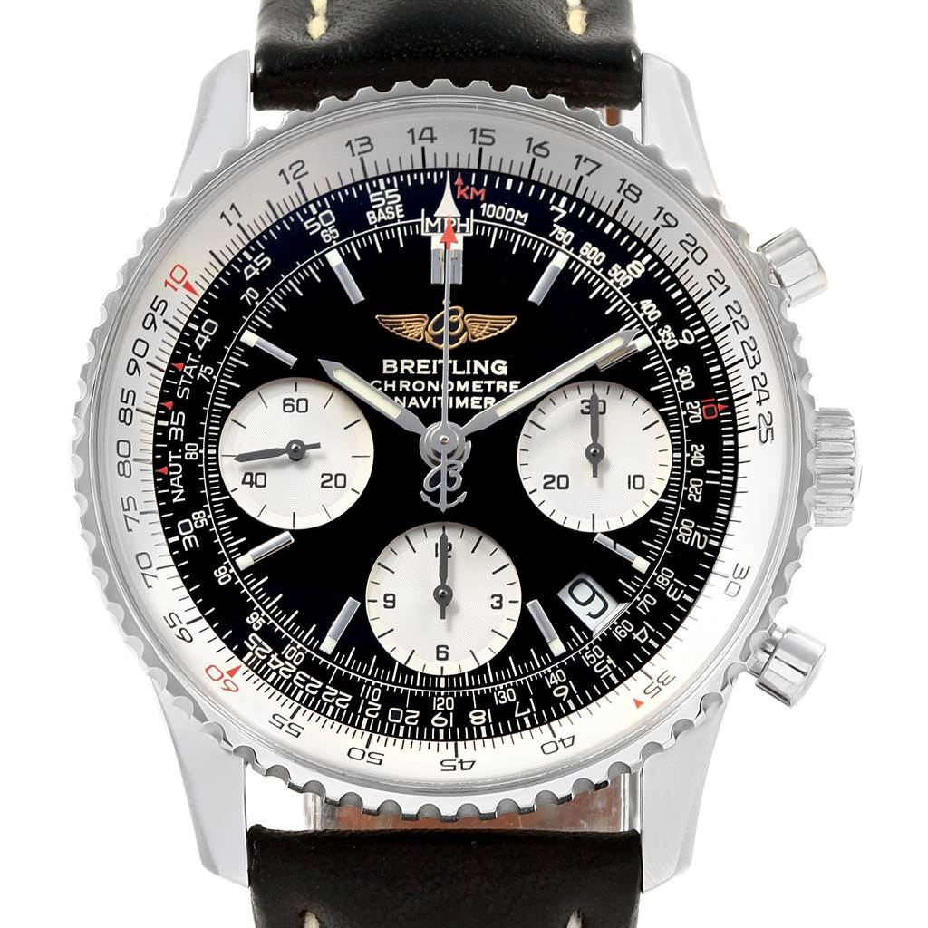 Breitling Navitimer Black Dial Chronograph Steel Mens Watch A23322 SwissWatchExpo