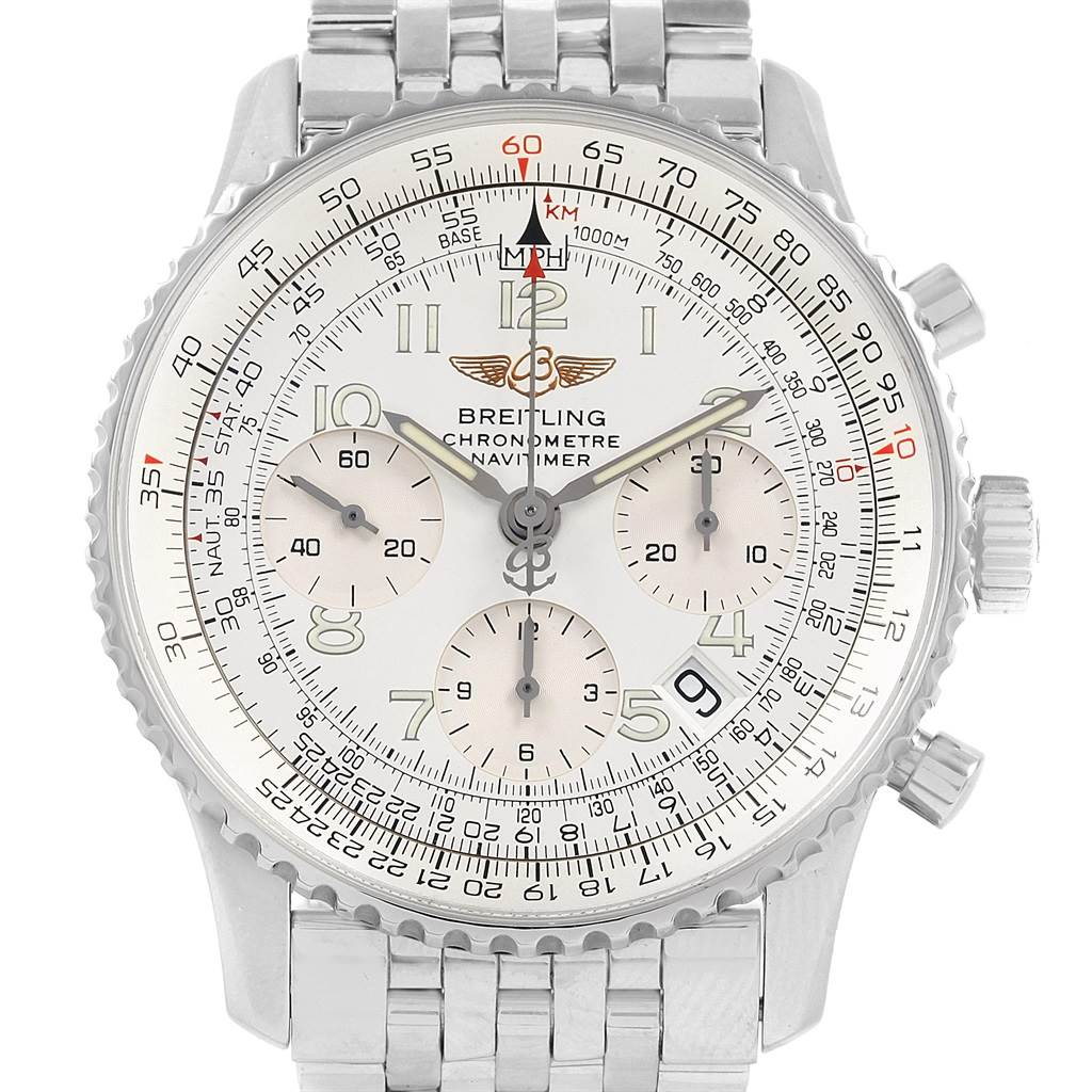 21312 Breitling Navitimer Chronograph Silver Dial Steel Mens Watch A23322 SwissWatchExpo