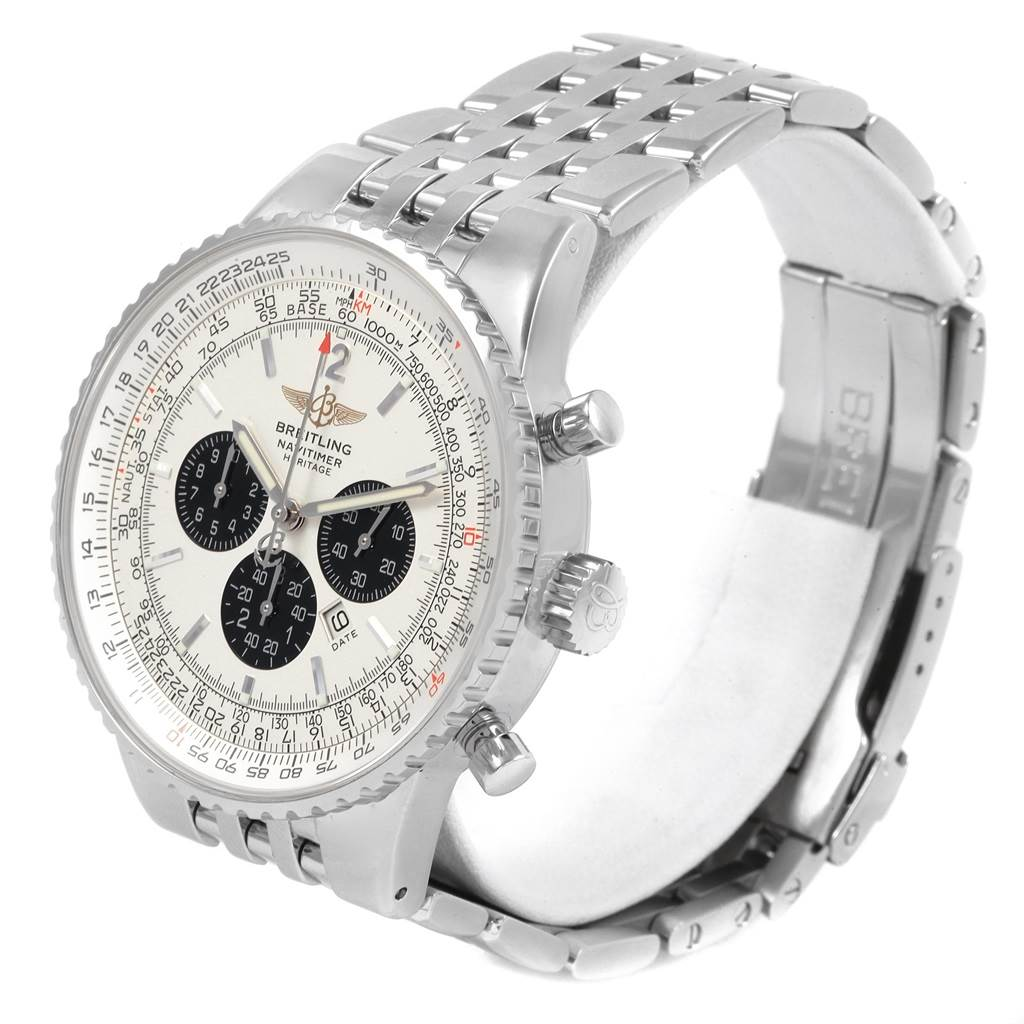 21332 Breitling Navitimer Heritage Silver Dial Mens Watch A35350 Box Papers SwissWatchExpo