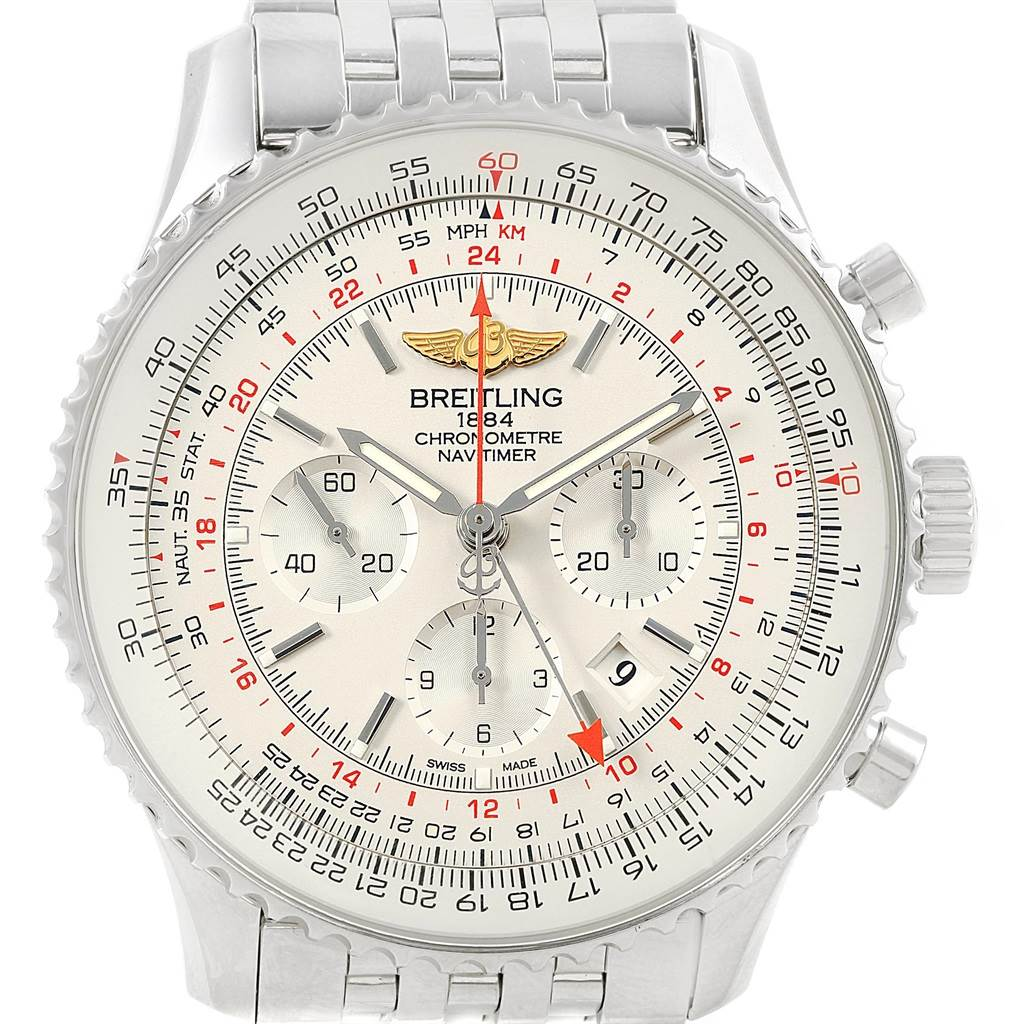 21384 Breitling Navitimer GMT 48 Silver Dial Mens Watch AB0441 Box Papers SwissWatchExpo