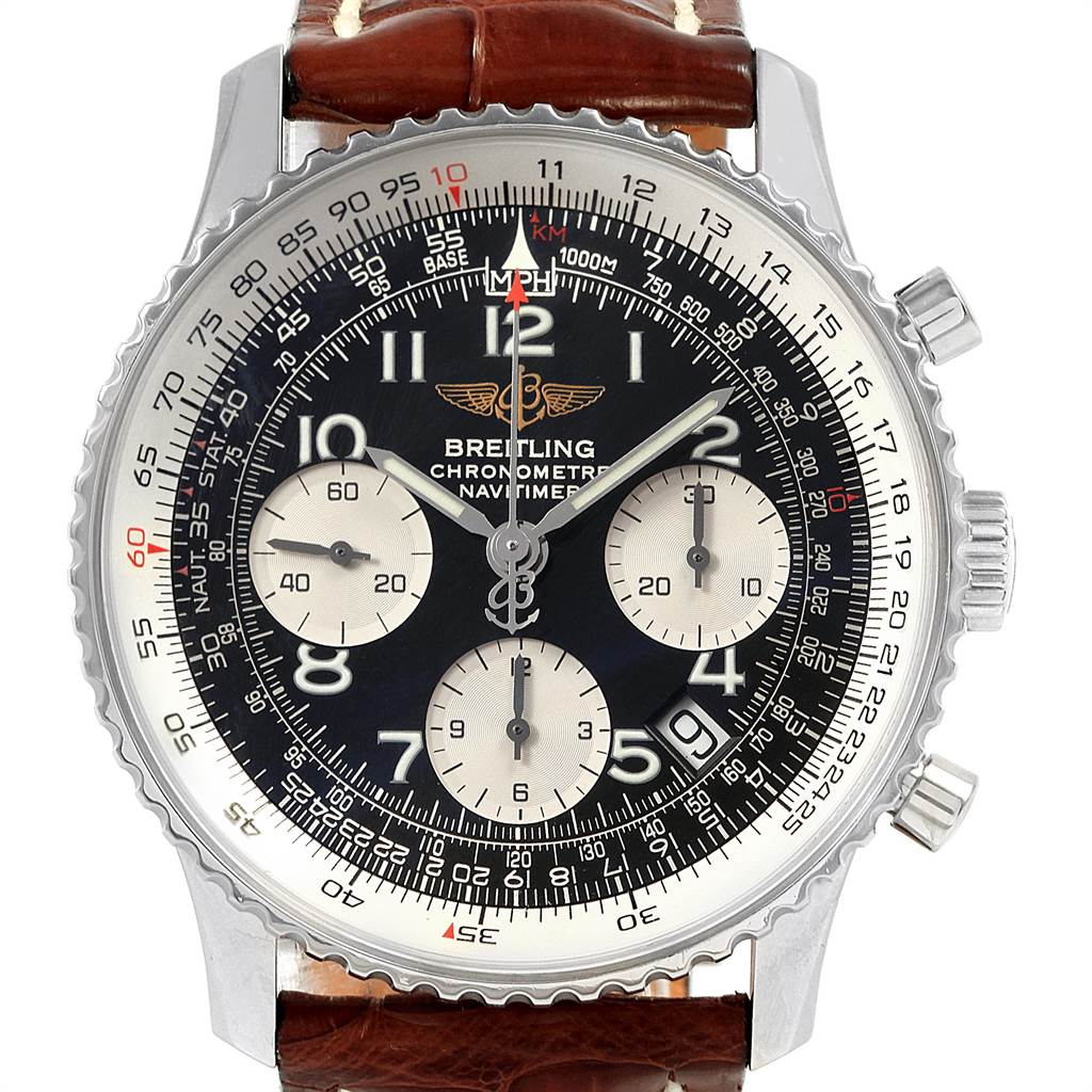 21547 Breitling Navitimer Brown Strap Chronograph Steel Mens Watch A23322 SwissWatchExpo