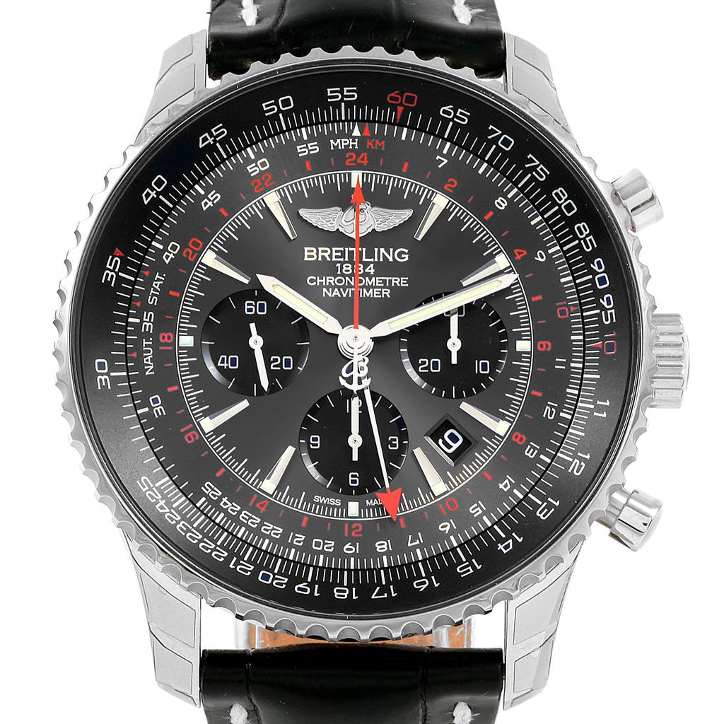 21681 Breitling Navitimer GMT Stratos Grey Limited Edition Watch AB0441 Unworn SwissWatchExpo