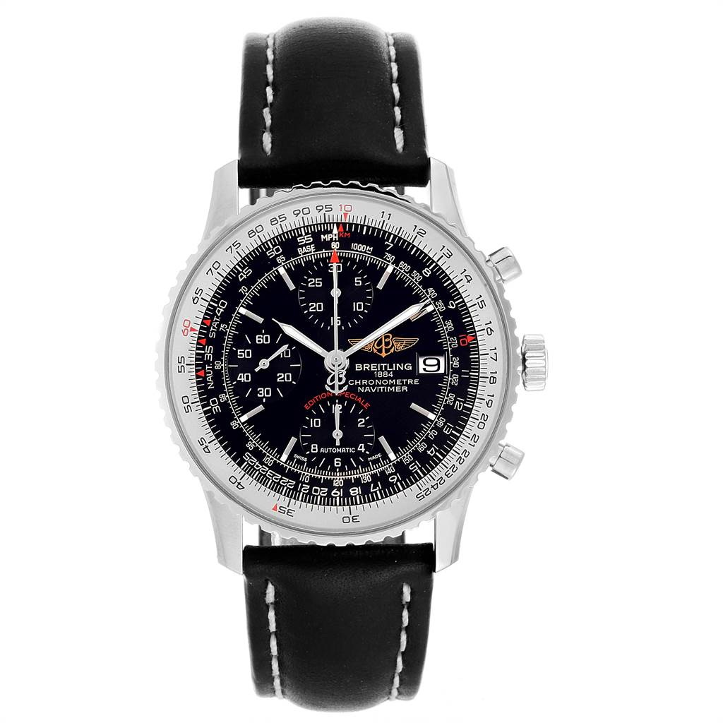 22026 Breitling Navitimer Heritage Black Dial Mens Watch A13324 Box Papers SwissWatchExpo