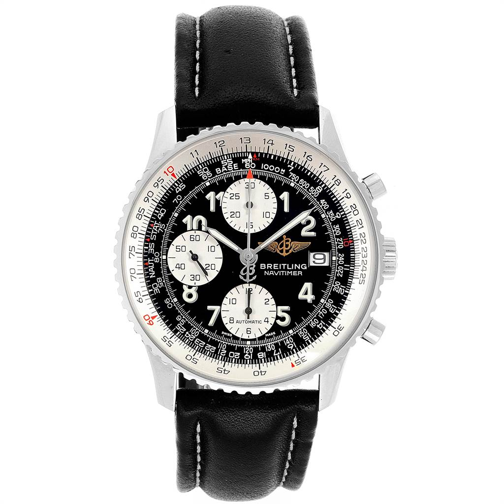 21842 Breitling Navitimer Black Dial Chronograph Steel Mens Watch A13322 SwissWatchExpo