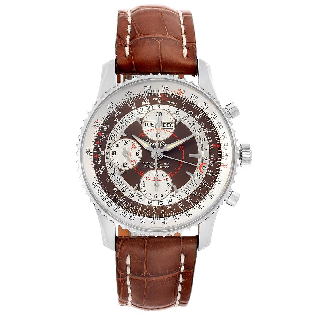22079 Breitling Navitimer Montbrillant Datora GMT Steel Watch A21330 Unworn SwissWatchExpo