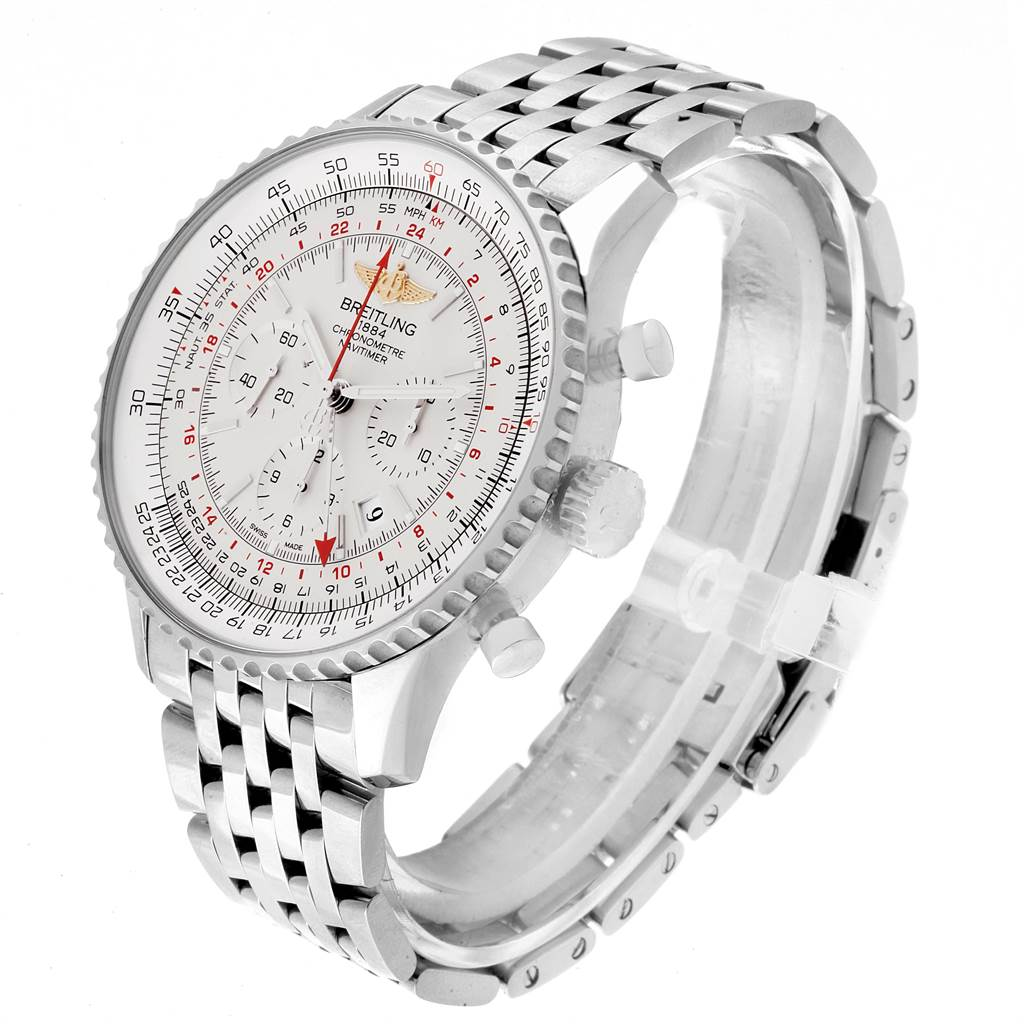 Breitling Navitimer GMT 48 Silver Dial Mens Watch AB0441 Box Papers SwissWatchExpo