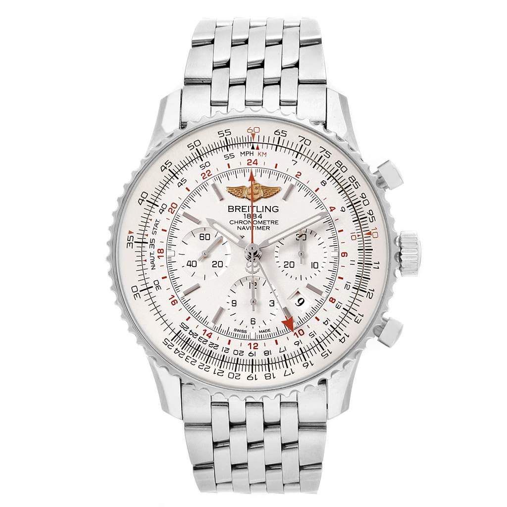 22080 Breitling Navitimer GMT 48 Silver Dial Mens Watch AB0441 Box Papers SwissWatchExpo