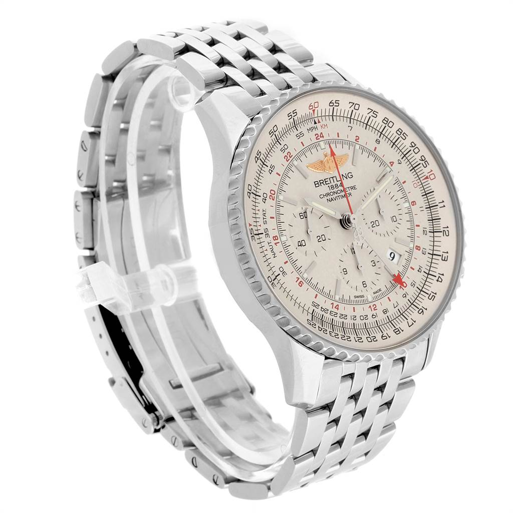 22065 Breitling Navitimer GMT 48 Silver Dial Steel Mens Watch AB0441 SwissWatchExpo