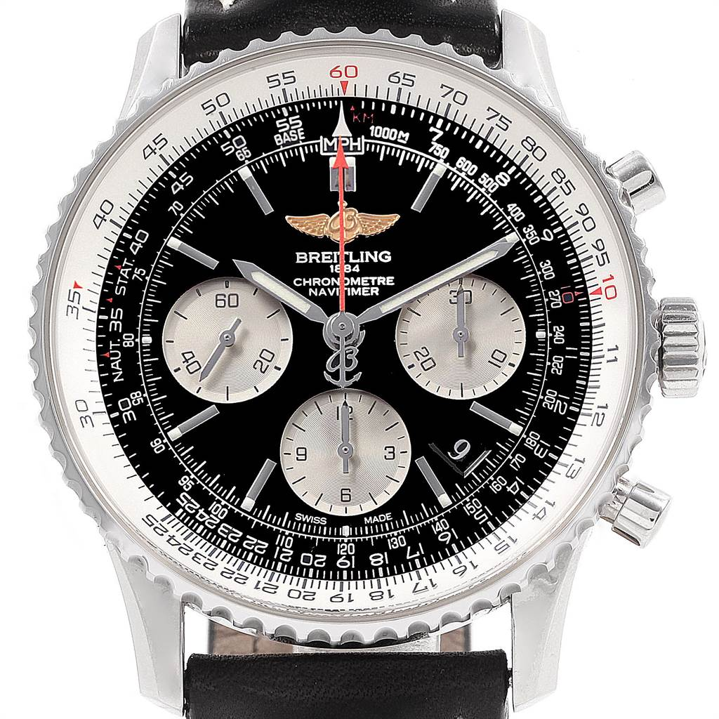 22090 Breitling Navitimer 01 Black Strap Automatic Mens Watch AB0120 SwissWatchExpo
