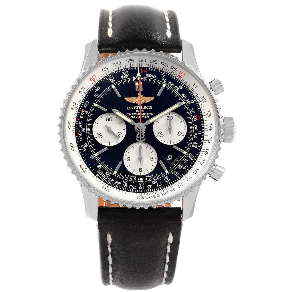 22096 Breitling Navitimer 01 Black Dial Steel Mens Watch AB0120 Box Papers SwissWatchExpo