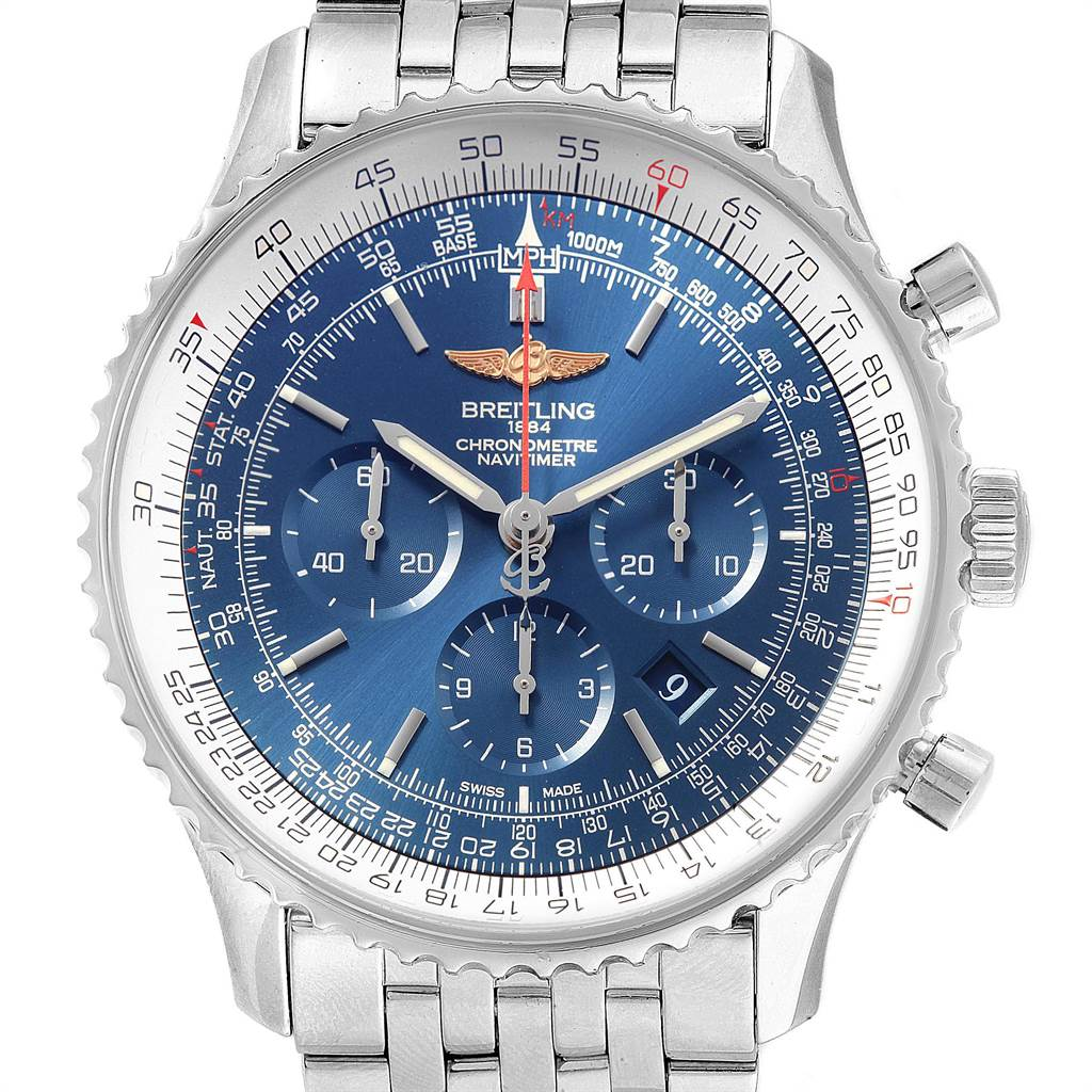 22410 Breitling Navitimer 01 46mm Aurora Blue Dial Watch AB0127 Box Papers SwissWatchExpo