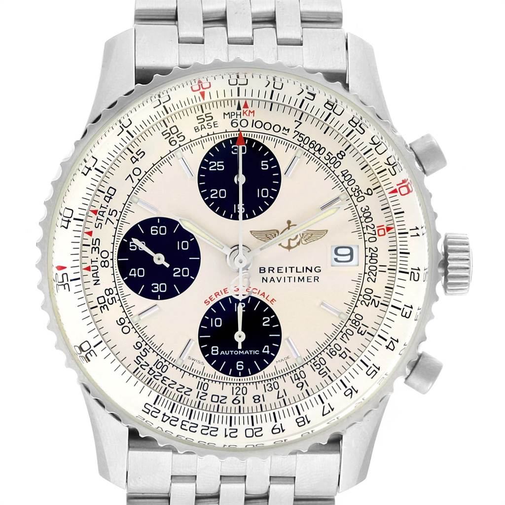 22130 Breitling Navitimer Fighter Chronograph Silver Dial Steel Watch A13330 SwissWatchExpo