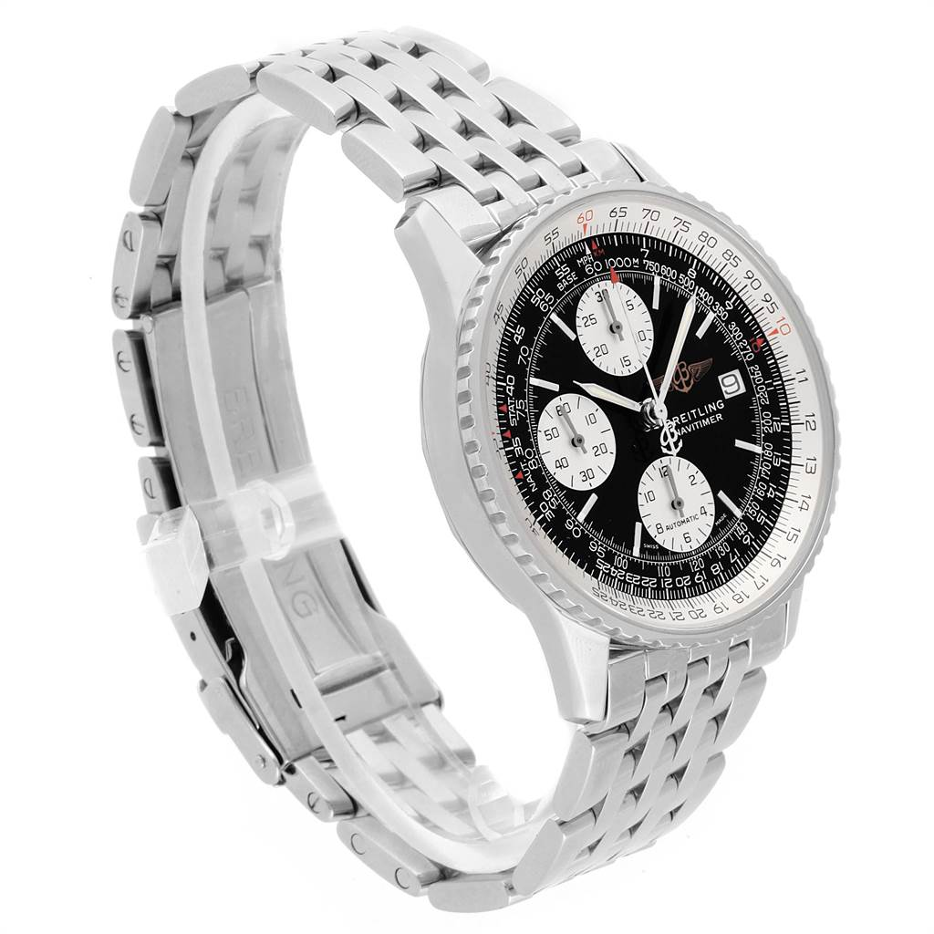 21852 Breitling Navitimer II Black Dial Chronograph Mens Watch A13322 SwissWatchExpo