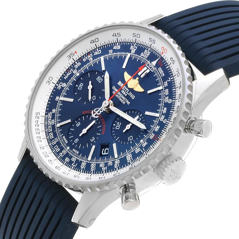 Breitling Navitimer 01 Blue Dial Limited Edition Mens Watch AB0121 Unworn SwissWatchExpo