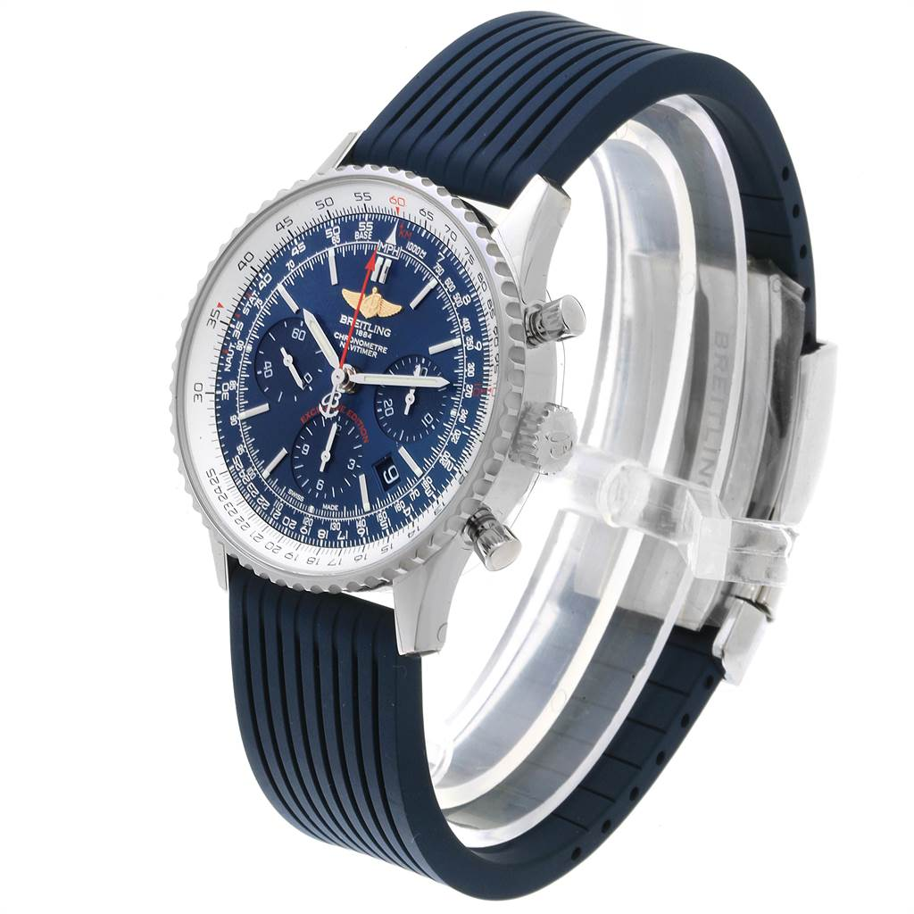 22622 Breitling Navitimer 01 Blue Dial Limited Edition Mens Watch AB0121 Unworn SwissWatchExpo