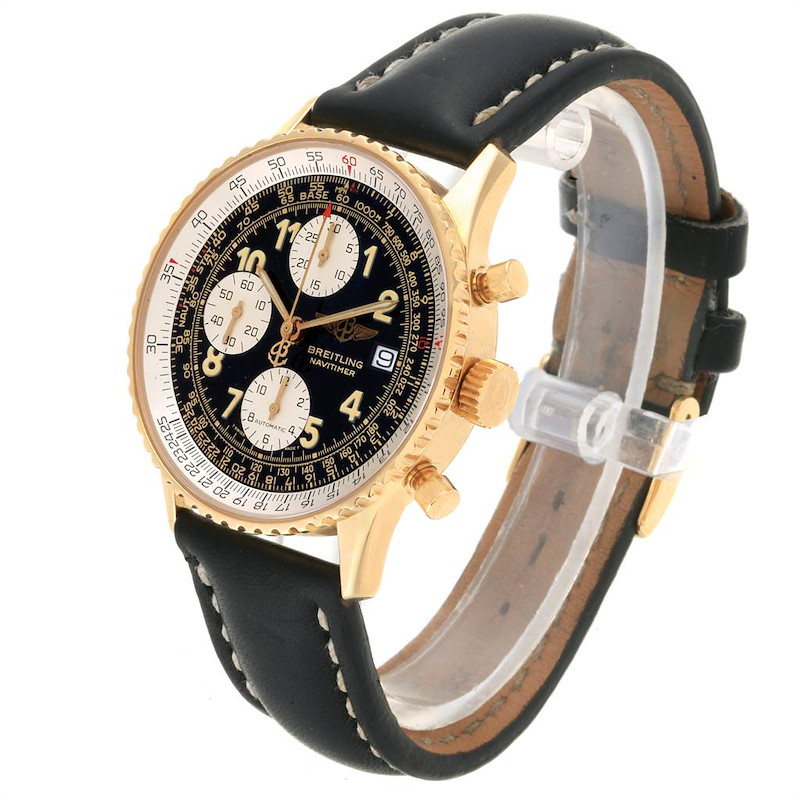 Breitling Navitimer II Black Dial 18K Yellow Gold Mens Watch K13022 SwissWatchExpo