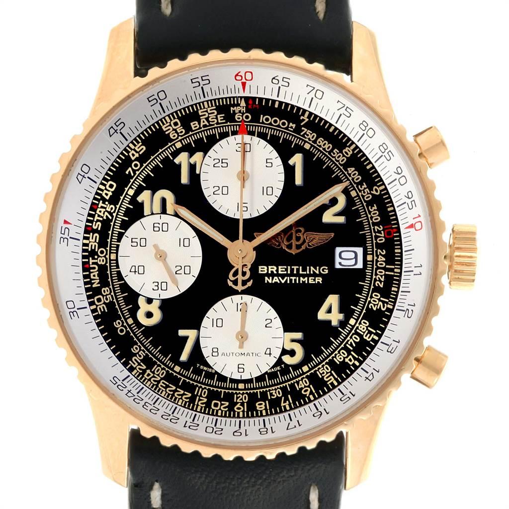 22723 Breitling Navitimer II Black Dial 18K Yellow Gold Mens Watch K13022 SwissWatchExpo