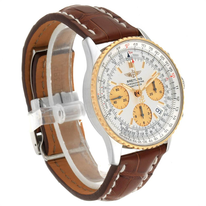 Breitling Navitimer Steel Yellow Gold Brown Strap Watch D23322 Box SwissWatchExpo