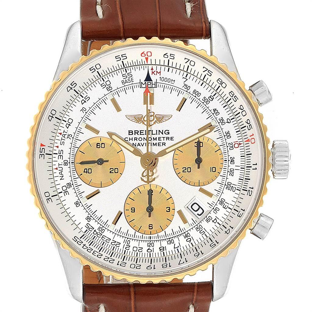 Breitling Navitimer Steel Yellow Gold Brown Strap Watch D23322 Box SwissWatchExpo