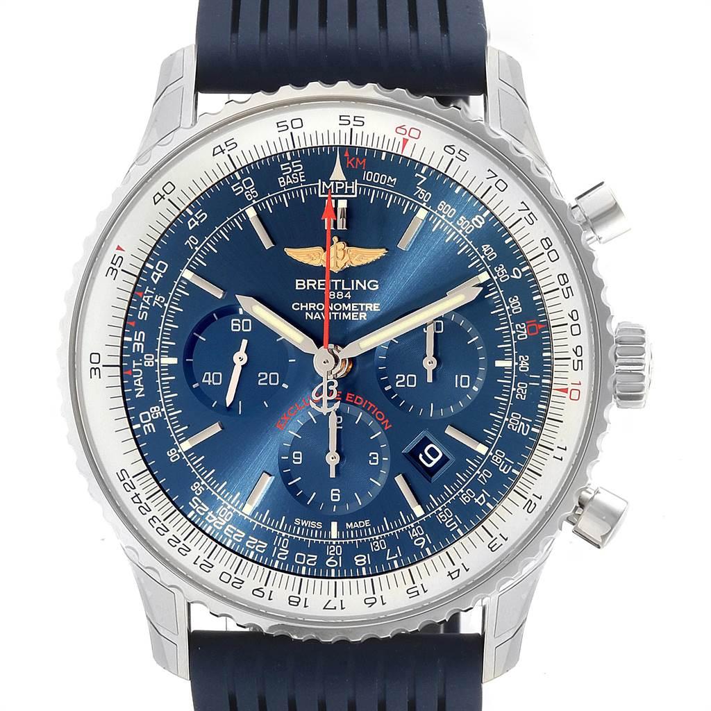 23165 Breitling Navitimer 01 46 Blue Dial Rubber Strap Watch AB0127 Unworn SwissWatchExpo