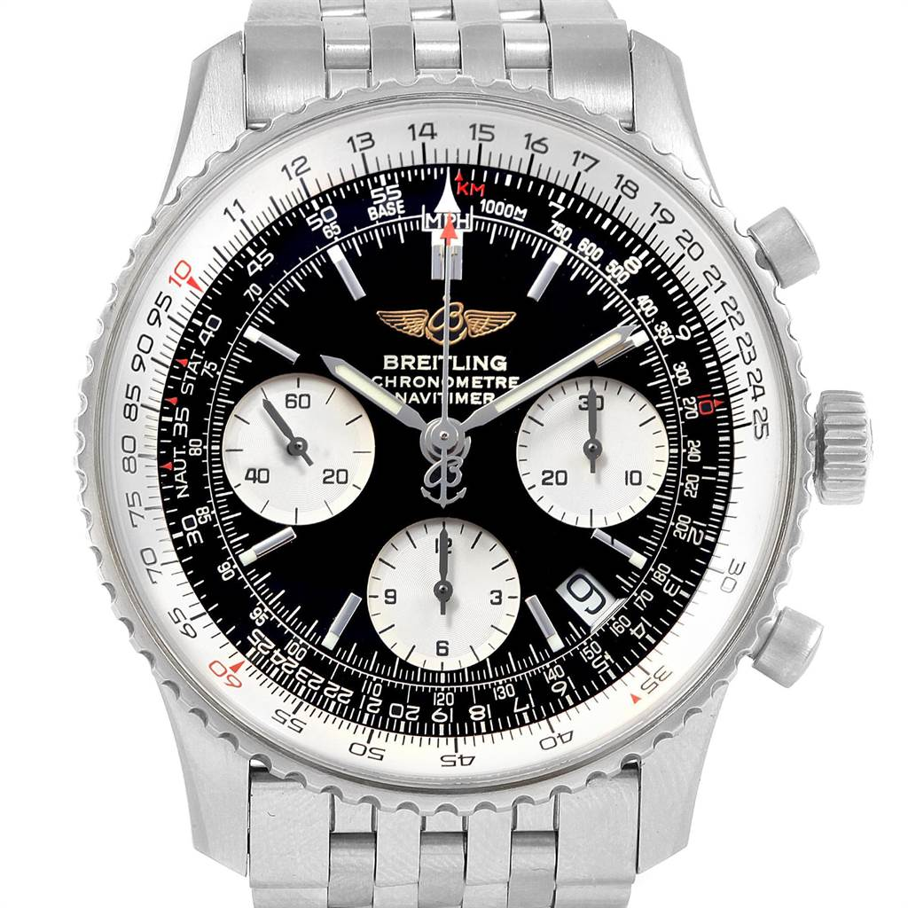 22091 Breitling Navitimer Black Baton Dial Steel Mens Watch A23322 Box Papers SwissWatchExpo