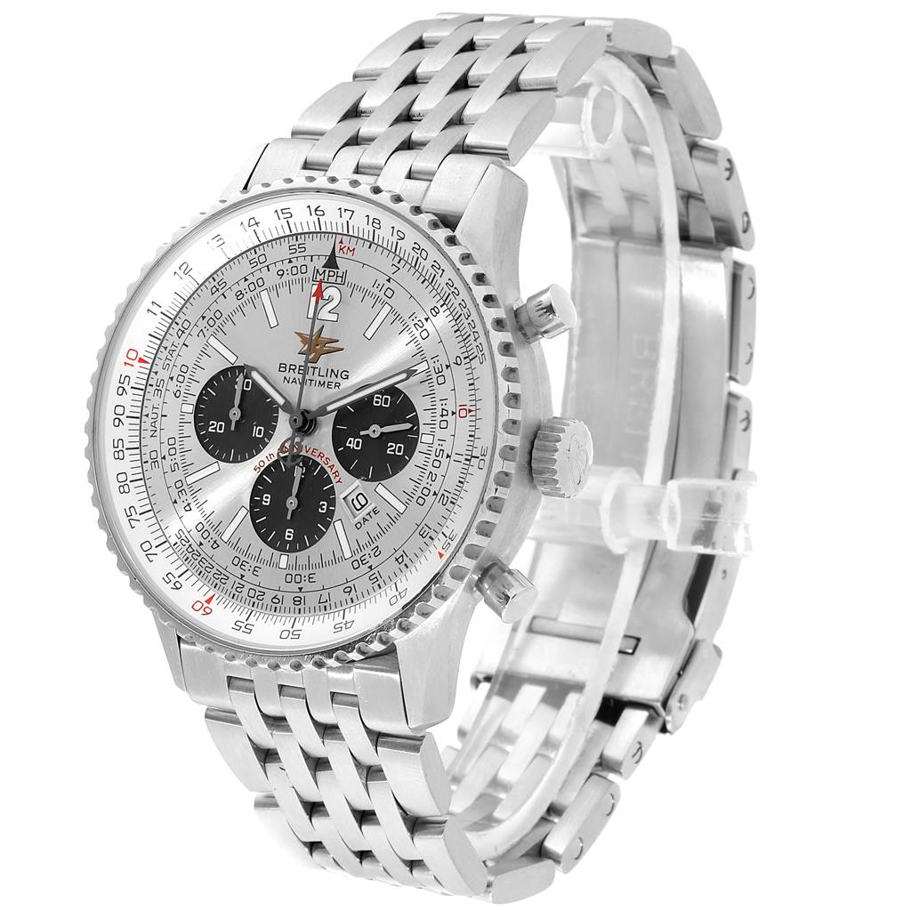 21619 Breitling Navitimer 50th Anniversary Silver Dial Mens Watch A41322 SwissWatchExpo